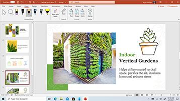 תבנית PowerPoint מוצגת על המסך