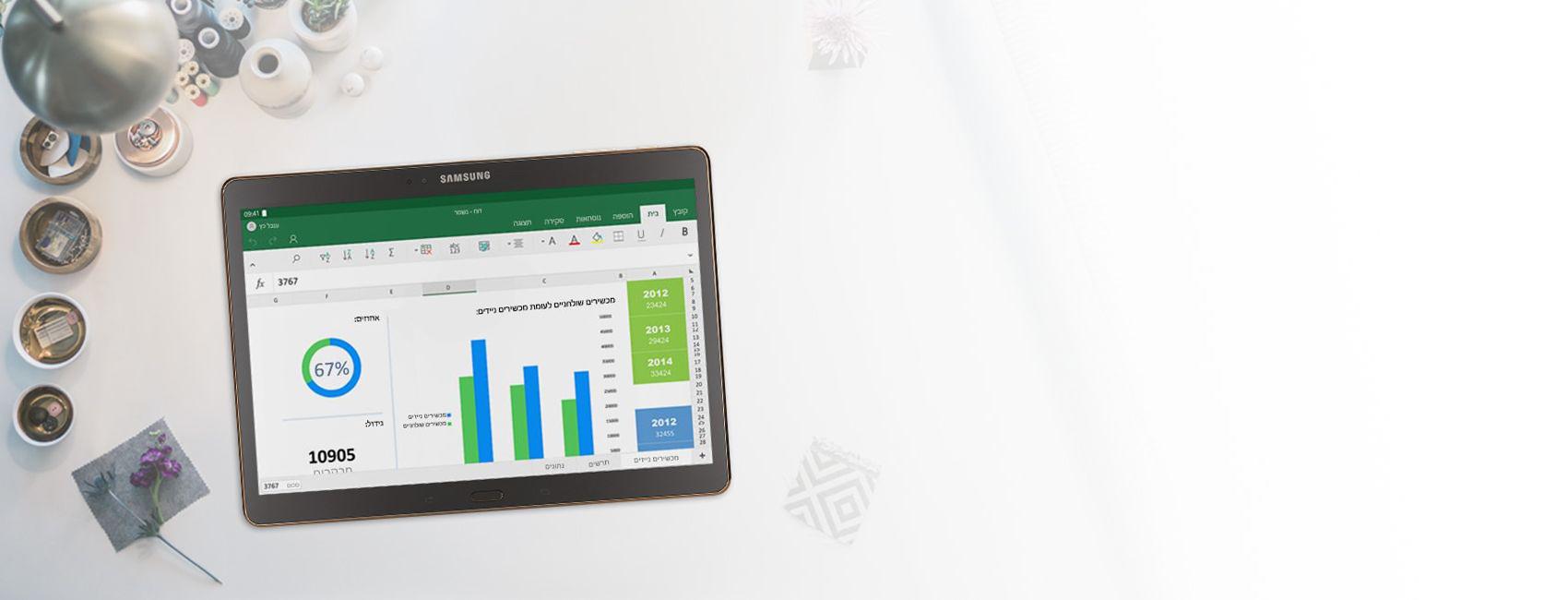 מחשב Tablet המציג תרשימים בדוח Excel