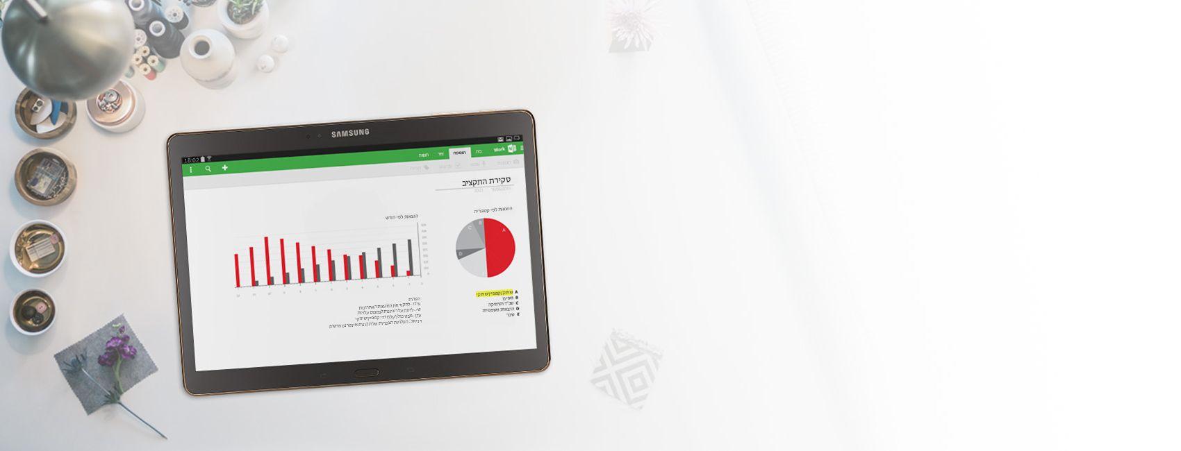 Tablet מציג תרשימים וגרפים של סקירת תקציב במחברת OneNote