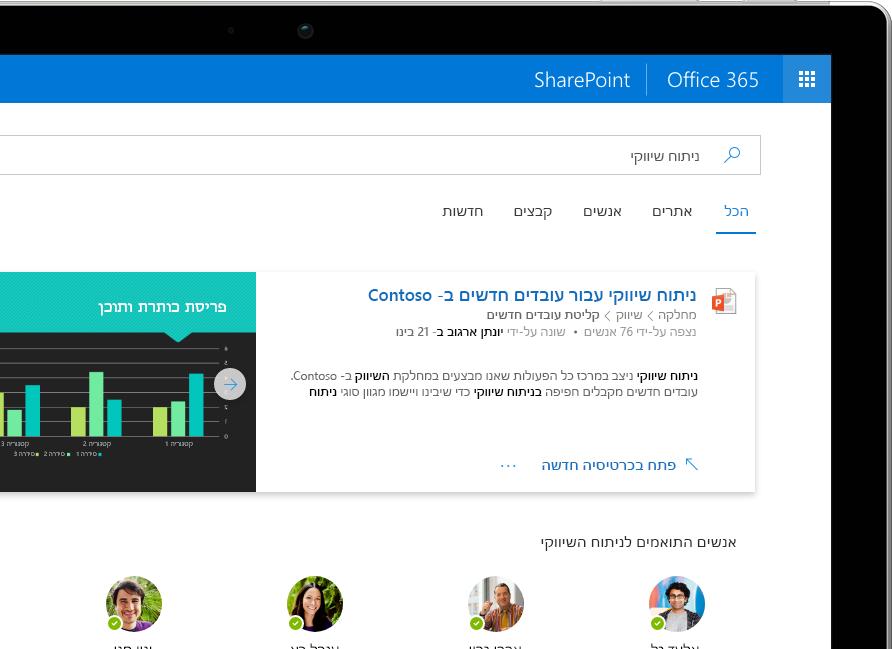 השירות 'חיפוש וגילוי חכמים' ב- SharePoint מראה תוצאות מותאמות אישית ברחבי Office 365 המוצגות ב- Surface Pro
