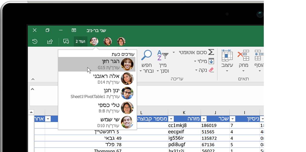 חוברת עבודה של Excel עם חלון תובנות משמאל