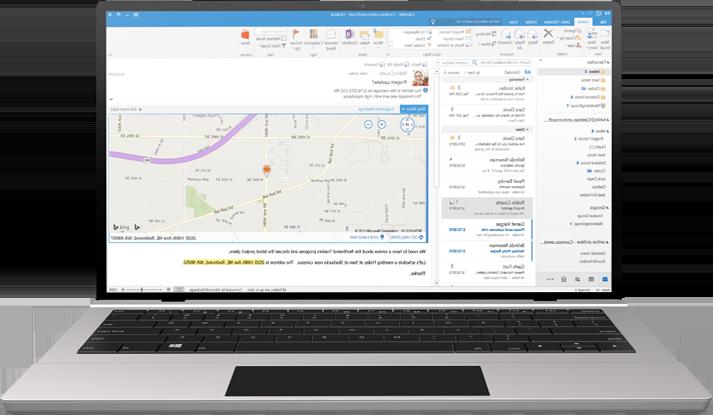 מחשב נישא המציג תיבת דואר נכנס של Office 365