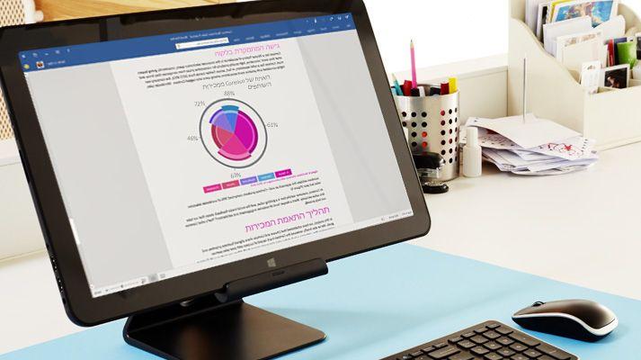 צג מחשב מראה את אפשרויות השיתוף ב- Microsoft Word.