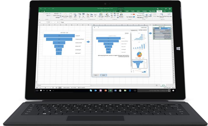 מחשב נישא המציג גיליון אלקטרוני של Excel עם שני תרשימים שמדגימים דפוסי נתונים.