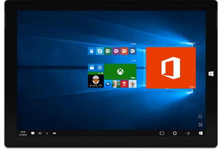 מחשב Tablet שמציג אפליקציות Office ואריחים אחרים במסך 'התחל' של Windows 10