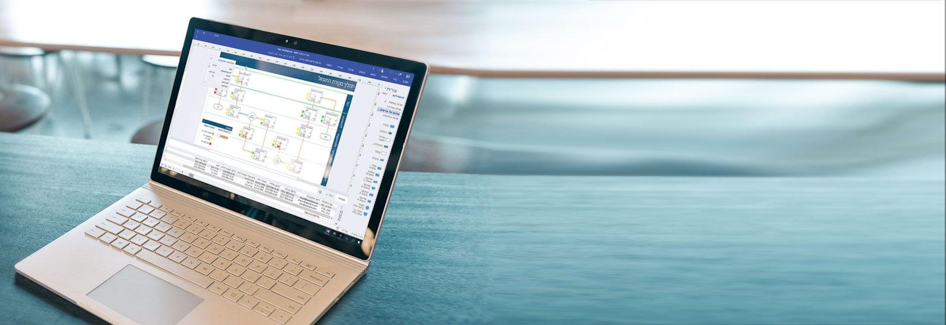 מחשב נישא שמציג דיאגרמת זרימת עבודה של תהליך ב- Visio