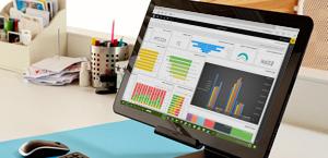 מסך של מחשב שולחני שמציג את Power BI, קבל מידע נוסף על Microsoft Power BI.