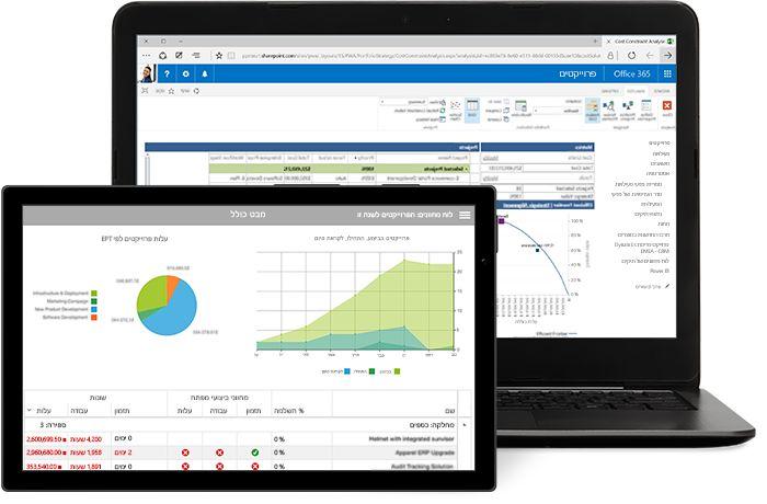 מחשב נישא ו- Tablet שמציגים חלון פרוייקט ב- Microsoft Project.