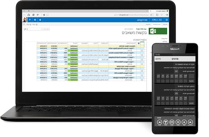 מחשב נישא שמציג חלון פרוייקט ב- Microsoft Project וטלפון שמציג לוח זמנים של פרוייקט.