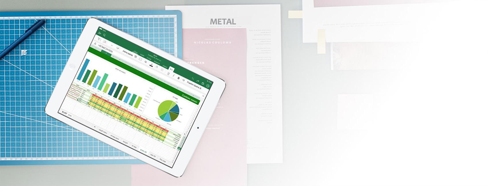 iPad המציג גיליון אלקטרוני ותרשים של Excel ביישום Excel עבור iOS
