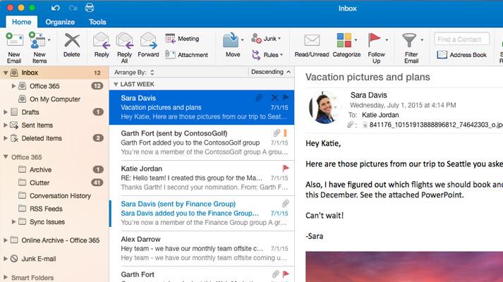 Microsoft Outlook 2016 के इनबॉक्स में संदेश सूची और पूर्वावलोकन का स्क्रीनशॉट.