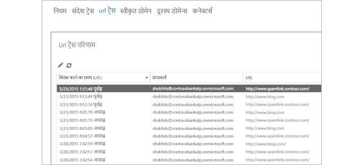 Office 365 उन्नत खतरा सुरक्षा में URL ट्रेस परिणाम.