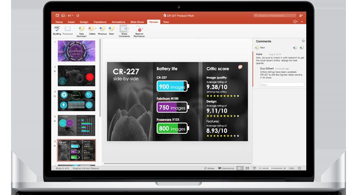सहयोग प्रदान करती टीम की PowerPoint प्रस्तुति की स्लाइड्स दिखाने वाला लैपटॉप.