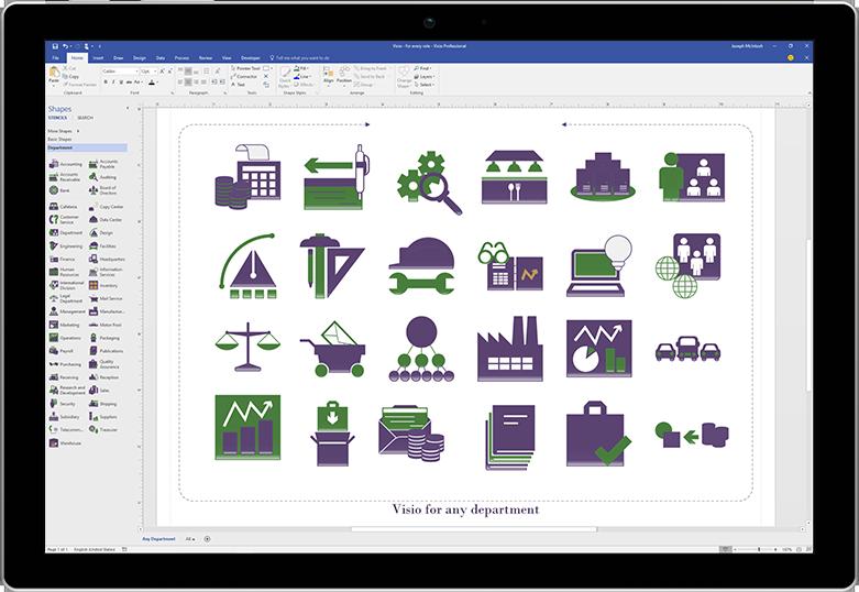 Visio में उत्पाद लॉन्च आरेख प्रदर्शित करती हुई टैबलेट स्क्रीन