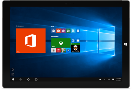Office, Office एप्लिकेशन और Windows 10 प्रारंभ स्क्रीन पर अन्य टाइलों को दर्शाता हुआ एक टैबलेट.