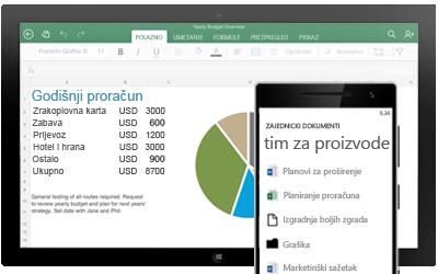 Tablet s prikazanim godišnjim proračunom i pametni telefon sa zajedničkim dokumentima tima.