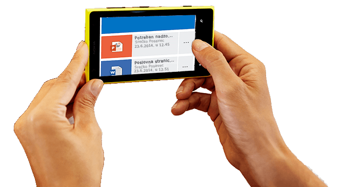 Pametni telefon u rukama s prikazanim pristupanjem sustavu Office 365.