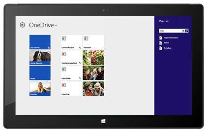 Tablet s prikazanim zaposlenikovim osobnim prostorom za pohranu datoteka i stranicom za omogućivanje zajedničkog korištenja u sustavu Office 365.