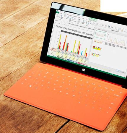 Tablet s proračunskom tablicom i pretpregledom preporučenog grafikona programa Excel.