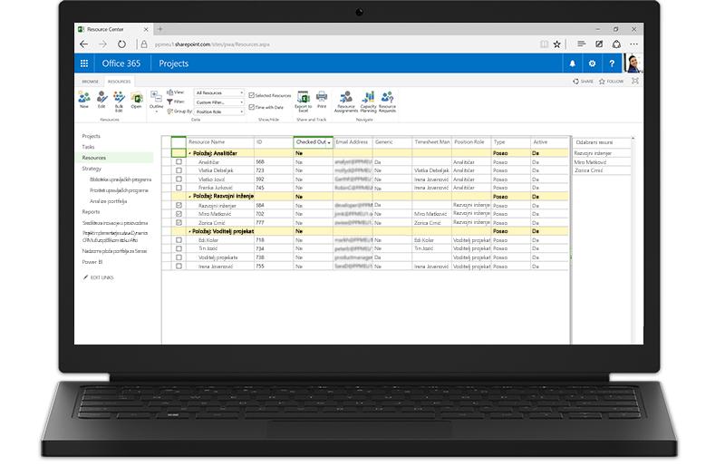 Prijenosno računalo s prikazanim značajkama programa Project Server utemeljenima na sustavu SharePoint