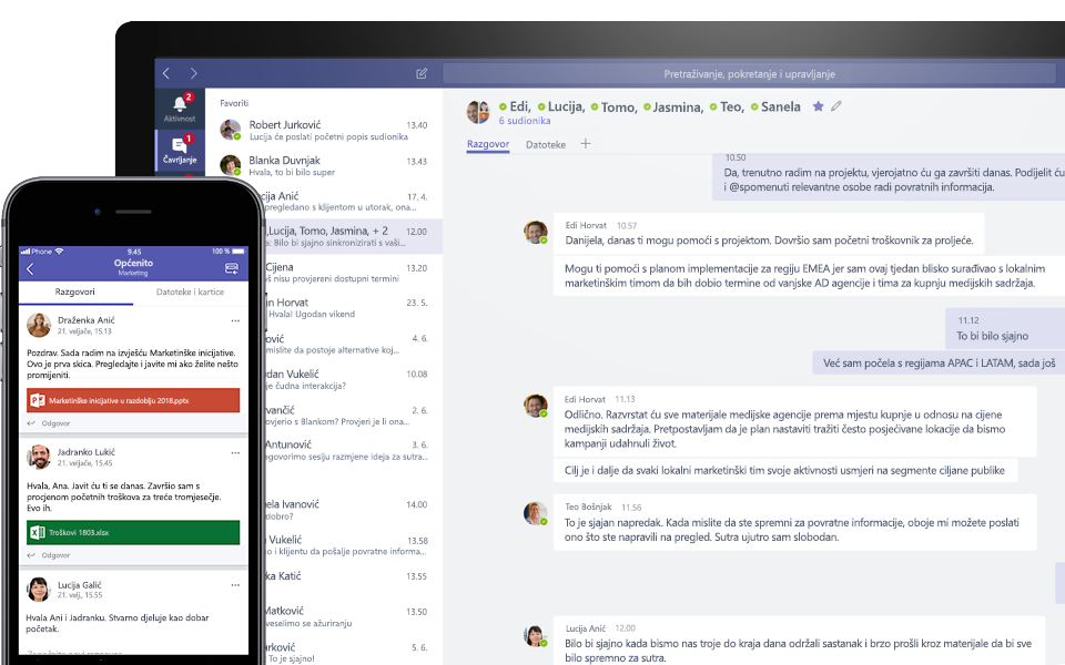 Razgovor putem aplikacije Teams na mobilnom i stolnom uređaju