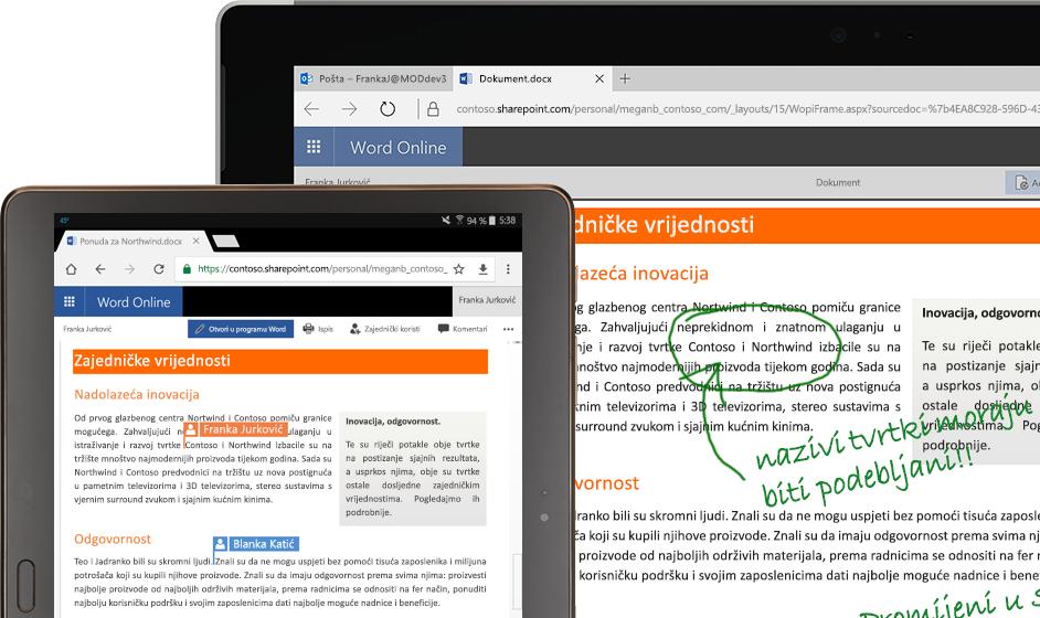 prijenosno računalo i tablet s programom Word Online