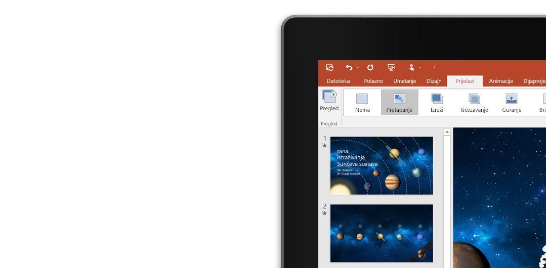 Tablet s prikazanom značajkom pretapanja na slajdu prezentacije programa PowerPoint.