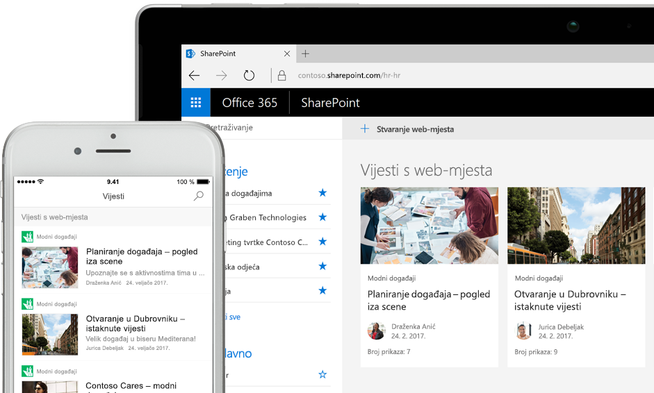 SharePoint s novostima na pametnom telefonu i karticama web-mjesta na tablet PC-ju