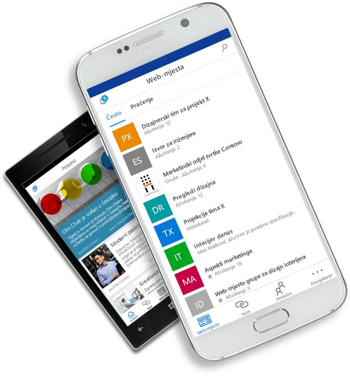 Aplikacija SharePoint prikazana na mobilnim uređajima
