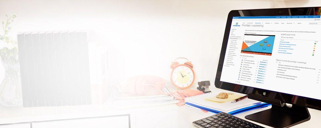 Računalni monitor s prikazanim dokumentom o prodaji i marketingu u sustavu SharePoint.