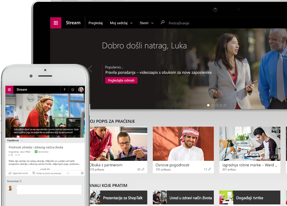 Videozapis servisa Stream koji se reproducira na pametnom telefonu, pokraj uređaja s prikazom izbornika s pločicama videozapisa u aplikaciji Stream