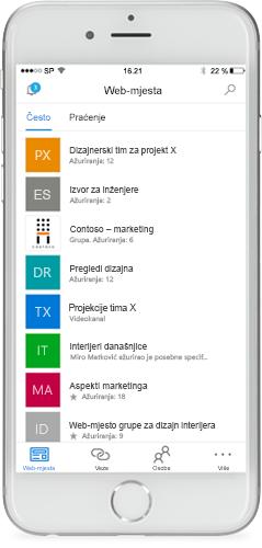 Telefon s prikazom mobilne aplikacije SharePoint na zaslonu
