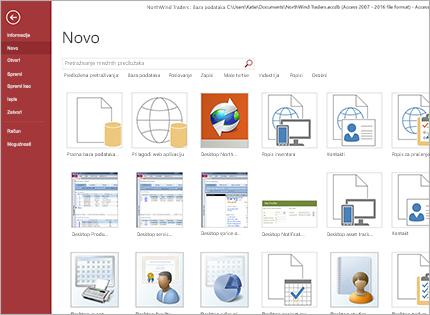 Snimka zaslona predloška aplikacije baze podataka.