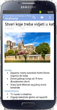 OneNote za telefon sa sustavom Android