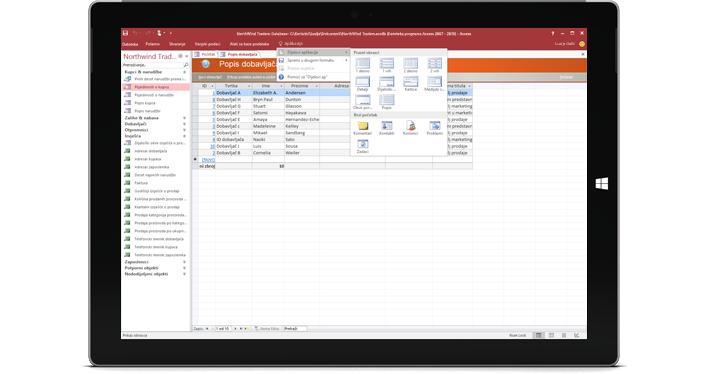 Tablet s prikazom baze podataka programa Access