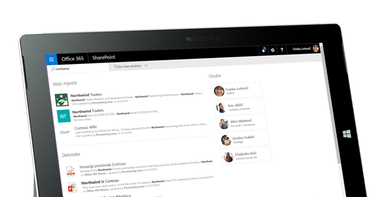 Yammer i SharePoint na tablet PC-ju