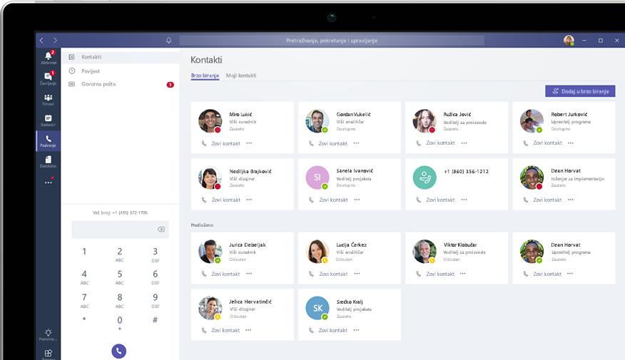 Pozivanje putem aplikacije Microsoft Teams prikazano na računalu