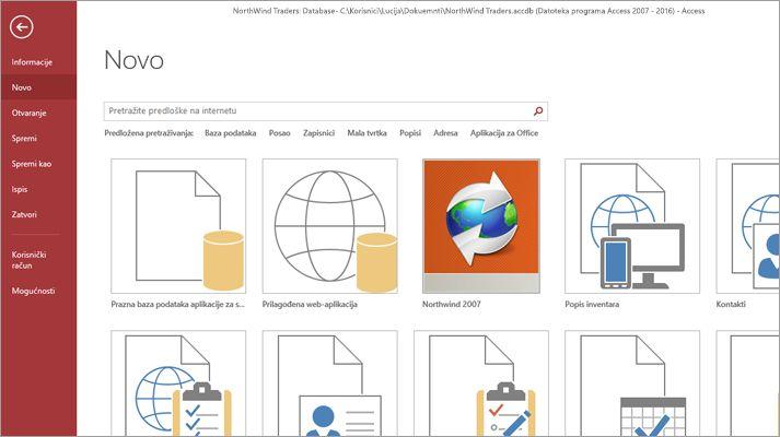 Snimka zaslona s prikazanim predloškom aplikacije za bazu podataka.