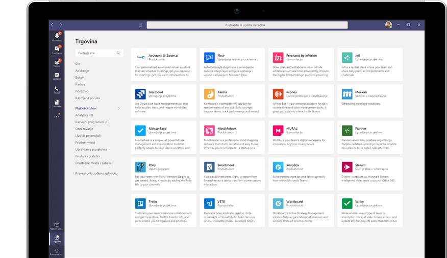 Microsoft App Store prikazan u aplikaciji Teams