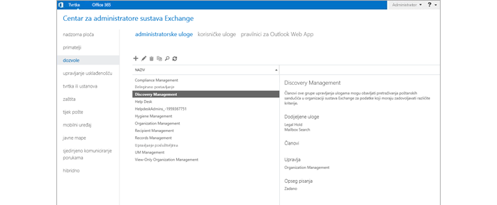 Snimke zaslona stranice s dozvolama u centru za administratore sustava Exchange, u kojem možete upravljati administratorskim ulogama.