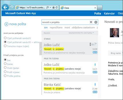 Krupni plan korisničke ulazne pošte u web-aplikaciji Outlook Web App.