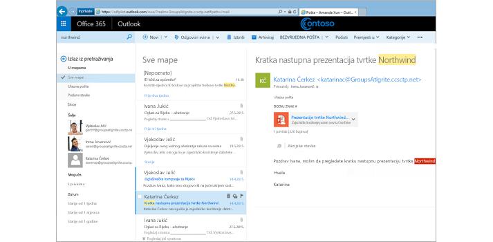 Uvećani prikaz korisnikove ulazne pošte u aplikaciji Outlook Web App.