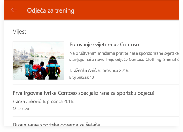grupni razgovor u sustavu SharePoint na tablet PC-ju