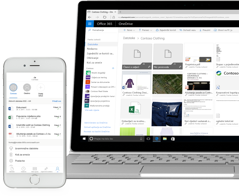 datoteke prikazane u sustavu SharePoint na pametnom telefonu i prijenosnom računalu