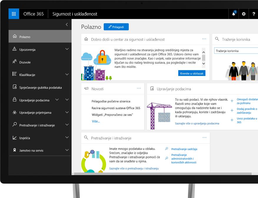 Centar za sukladnost i sigurnost sustava Office 365 na monitoru računala sa sustavom Windows