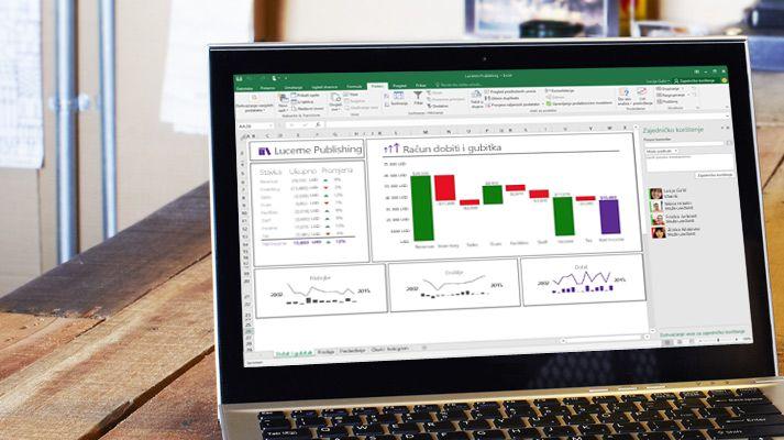 Prijenosno računalo s preraspoređenom proračunskom tablicom programa Excel i automatski ispunjenim podacima.