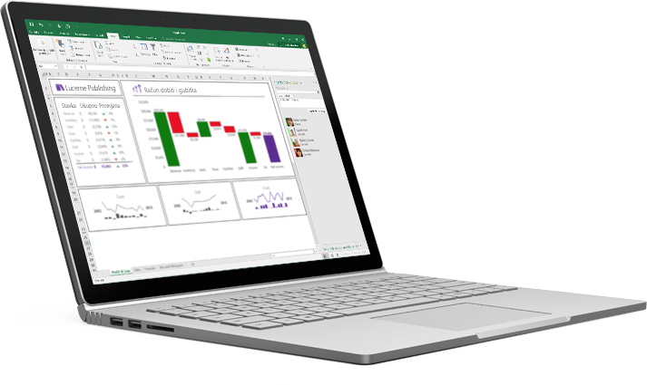 Prijenosno računalo s preraspoređenom proračunskom tablicom programa Excel i automatski unesenim podacima.