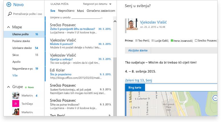uvećani prikaz zaslona mape ulazne pošte u sustavu Exchange 2016