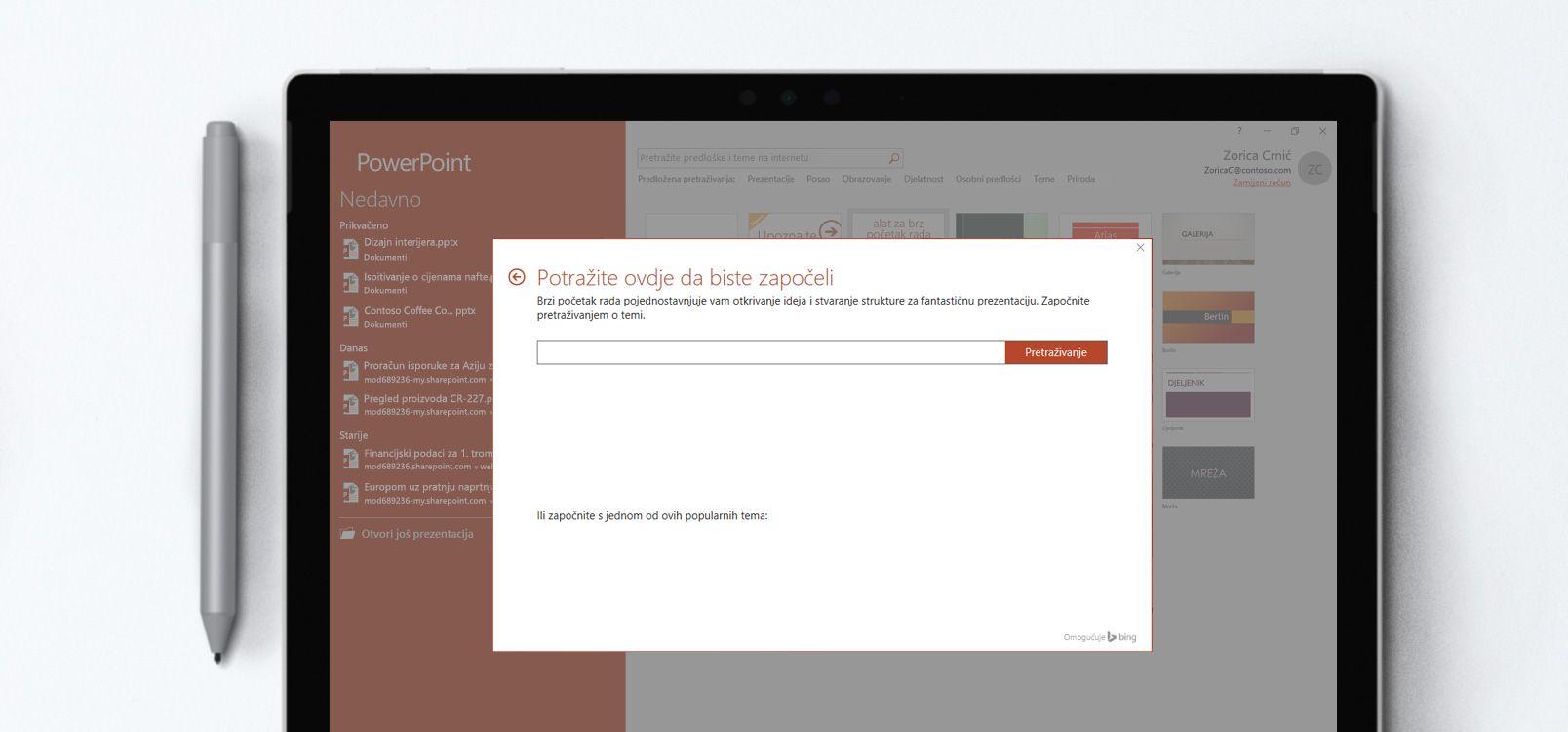 Zaslon tableta s prikazom dokumenta programa PowerPoint u kojem se koristi značajka Alat za brzi početak rada