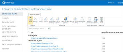 Snimka zaslona centra za administratore sustava SharePoint, u kojemu možete jednostavno upravljati web-mjestima i korisnicima.